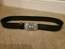 Liz Claiborne Women's Black Genuine Leather Silver Buckle Belt Size Large
