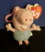 "TY Beanie Babies 4"" Peppa Pig George Key Clip Stuffed Animal Plush Doll 2016"
