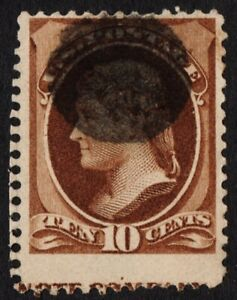 """US Sc# 209 USED { SCARCE """"IMPRINT CAPTURE"""" VAR } GREAT 10c JEFFERSON FROM 1882"""
