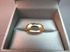 14k Yellow Gold Keepsake Wedding Band Deco 3.11g Size 8.5 Ring 5.8mm Wide Front