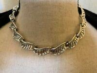 Vintage Circa 1950s Coro Copyright Silver Tone Swirled Link Choker Necklace