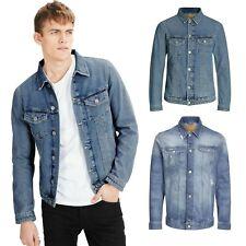 Mens Denim Jacket Jack & Jones Distressed Classic Western Style Jeans Jacket