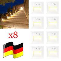 8er Set 3W LED Wandeinbauleuchte Treppe Außen Lampe mit Bewegungsmelder Warmweiß