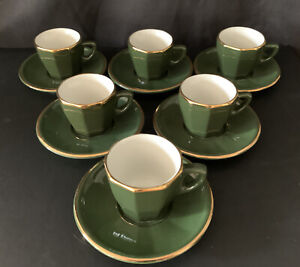 Apilco Green & Gold Bistro Espresso Cup & Saucers Set Of 6