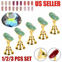 1/2/3 Set Magnetic Nail Art Holder Practice Display Stand Crystal Manicure Tool