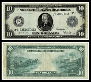 1914 $10  Federal Reserve Large Size Note ~NEW YORK ~  VERY FINE