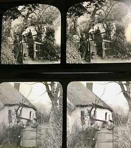 1891 2 ANTIQUE Glass Magic Lantern Stereo view Slide Cottages Formby Liverpool
