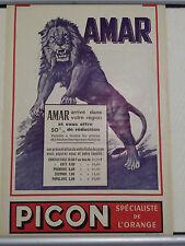 Affiche originale cirque Amar 1950 Tigre Picon Tiger circus poster fauve