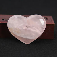 80g Natural Tumbled Rose Carved Gemstone Quartz Crystal Polish Heart Paperweight