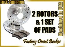 Front Premium Drilled & Slotted Performance Brake Rotors & Ceramic Pads CRX HF