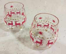 Pair of BPA Free Plastic Stemless Wine Glasses with Red Reindeer Christmas