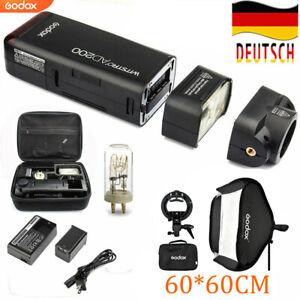 Godox AD200 TTL HSS 2,4G 1/8000 Tasche Blitzgerät+Godox 60*60cm Faltbar Softbox