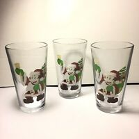 Disney Mickey Mouse Christmas Drinking Glasses  Lot Of 3