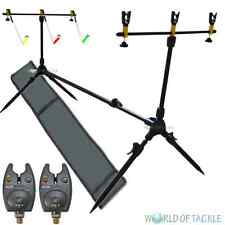 Rod Pod Carp Fishing With Bag 3 Rests and 3 Swingers and 2 Bite Alarms