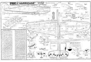 FROG HAWKER HURRICANE PLANS CONTROL LINE PROFILE