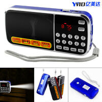 Portable Mini FM/AM Radio LCD Display Speaker MP3 AUX USB TF with LED Light