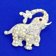 Elephant Brooch Made With Swarovski Crystal AB Color Good Luck Animal Pin Gift