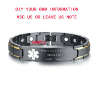 Personalized Medical Alert ID Therapy Healing Magnetic Bracelet Men Power Bangle