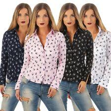 5822 Langarm Damen Bluse Hemdbluse Businessbluse Baumwoll-Stretch Print Hunde