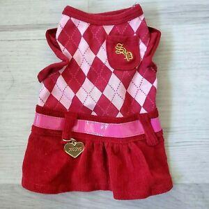 Smoochie Pooch Dog Puppy Burgundy Cute Pink Dress Cute Sz X-SMALL  ✅SHIPS TODAY✅