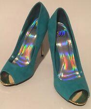 Derek Heart Stiletto Metal Heels Shoes Pumps Peep Toe Faux Suede Turquoise 7.5M