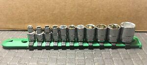"SK Tools  11-Piece 1/4"" Drive 6-Point SAE Shallow SuperKrome Socket Set USA"