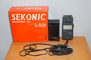 Tested Sekonic L-518 Digipro X-1 Ambient&Flash Light Meter w/Case & Accessories