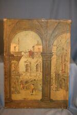 tableau peinture H/T ou procédé ancien décor batiment Venise