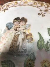 ANTIQUE S M LIMOGES HAND PAINTED CABINET PLATE WOW!! 2 GIRLS FLOWERS