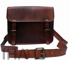 New Brown Satchel Genuine Vinatge Leather Laptop Messenger Briefcase Sling Bag