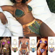 Women African Print Bikini Set Swimwear Push-Up Padded Bra Swimsuit Beachwear AM
