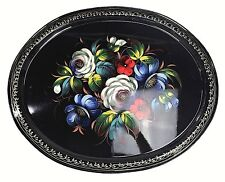 Vtg USSR Russian Hand Painted Metal Floral Flower Folk Art Tray Platter Black