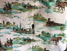 VINTAGE WESTERN COWBOY  CLOTH Train Stagecoach Horses Aqua Brown Green 1 yard