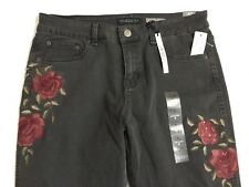 Aeropostale Girlfriend Jean Size 8 Mid Rise Relaxed Slim Black Roses Lmtd Ed NWT