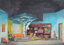 1976 Gouache painting house interior secene design signed