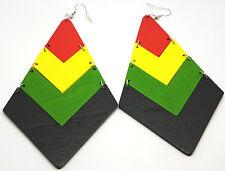 Rasta Jamaican Earrings Hand Painted Diamond Shape Wood - Jamaica Africa