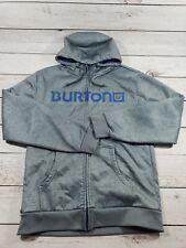 Burton Full Zip Up Hoodie Hoody Fleece Jacket Men's Large Grey Blue G9