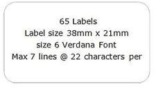 130 étiquettes d'adresse mini 2 x A4 Feuilles de 65 personnalisé transparent 21mm x 38mm