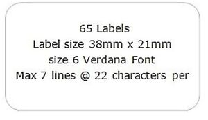 130 Address Mini Labels 2 x A4 sheets of 65 Personalised Transparent 21mm x 38mm
