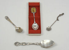 Lot of 4 Silverplate Souvenir Spoons Hummel Christmas Old Ironside Salt Everts