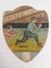 """BATLEY ST MARYS - Baines """"shield"""" RUGBY Trading Card, circa 1890s GOOD condition"""