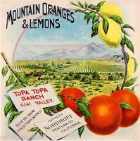 Nordhoff Ojai Valley Topa Mountain Orange Citrus Fruit Crate Label Art Print