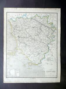 Carta Geografica Originale Toscana Pagnoni Milano 1840-50 Colorazione d'Epoca
