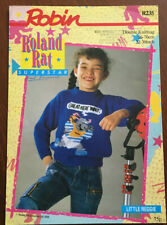 KNITTING PATTERN Roland Rat Reggie Motif Sweater Childrens Jumper Robin R235