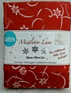 Mistletoe Lane Christmas Queen Sheet Set  RED