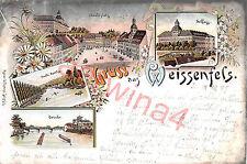 Weißenfels Marktplatz, Schloß, Brücke Litho Postkarte Bahnpost 1897