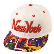 Men's Cotton New York Cool Aztec Snapback Adjustable Baseball Cap Hat White Red