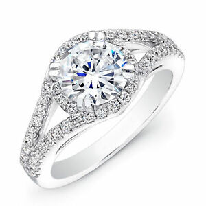 14K Solid White Gold Diamond Ring 1.34 Ct Diamond Engagement Rings Size 5 6 7 8