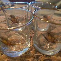 Set Of 4 Whiskey/Scotch Vintage  Gold Rimmed Pheasant Glasses