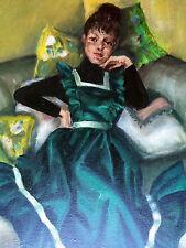 """VTG Oil Painting Deceased Artist R. Javrotsky """"Woman on Divan"""" Green MCM 1973"""